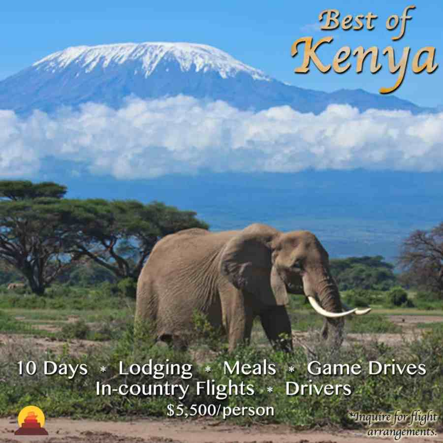 A vacation that includes Well appointed high end luxury hotels.  Trip of a lifetime.  Kenya is a bucketlist destination.  Safari all inclusive vacation