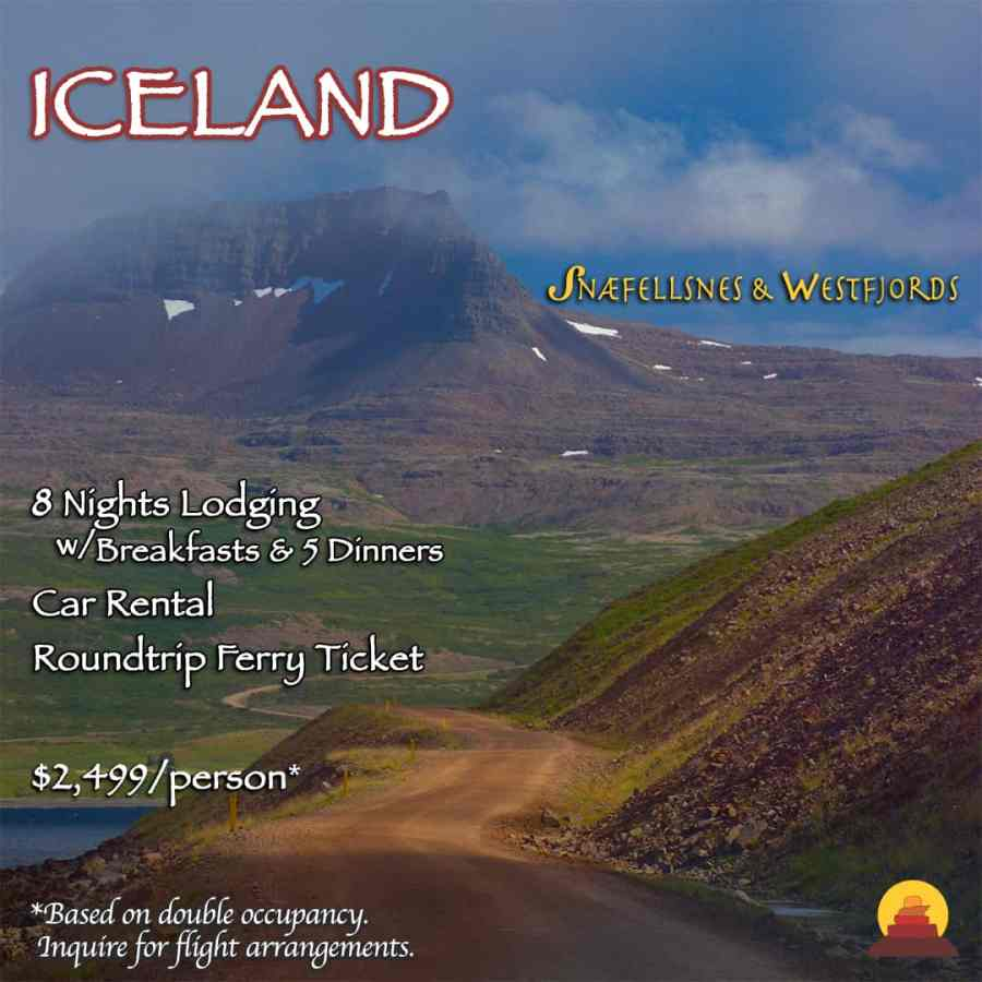 Vacation package self drive tour of Iceland.  Traveling off the beaten path to the westfjords of Iceland.