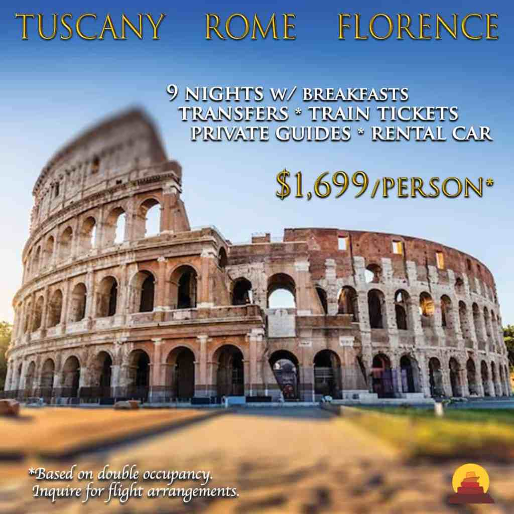 Dram vacation to Italy.  Visit Tuscany, Rome, Florence.  Go on wine tours, private drivers, train tickets