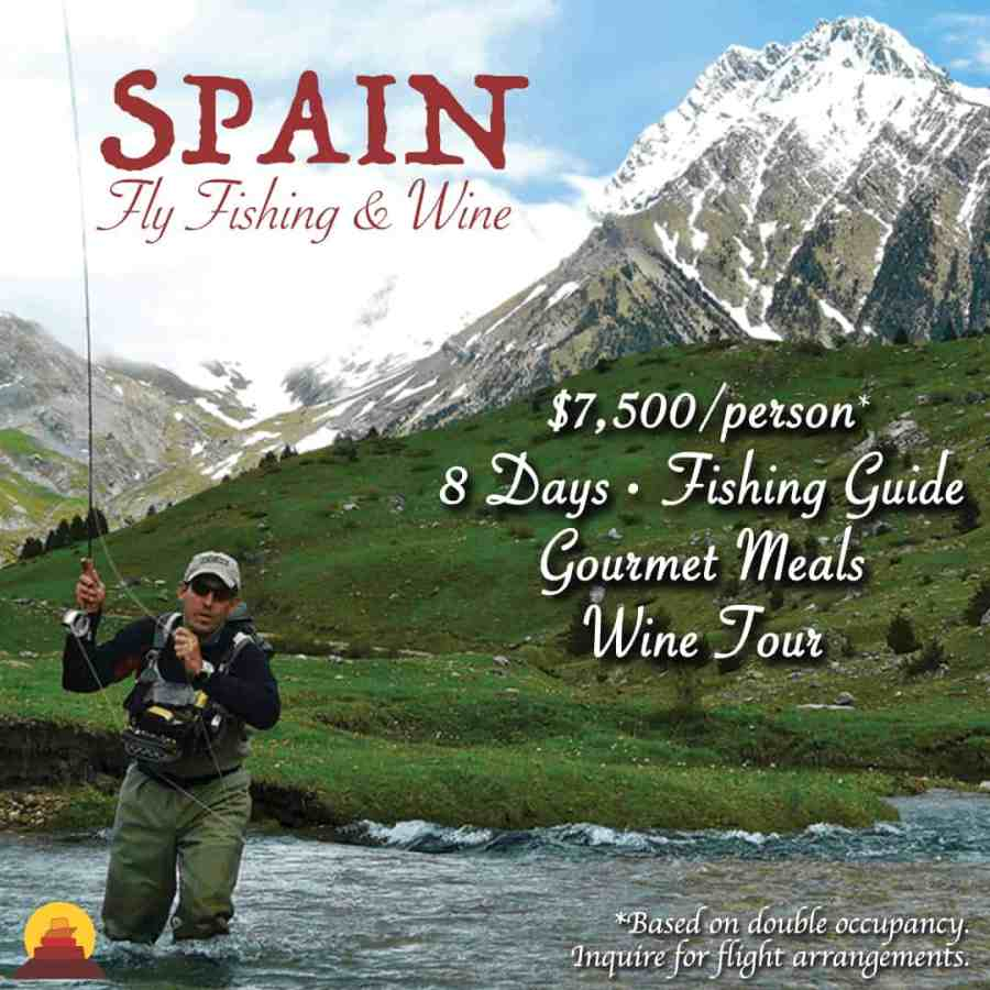Vacation at Orvis fishing lodge in Spain.  All inclusive, well appointed, high end, luxury accommodations, wine tours, helicopter tours, fishing tours.  Vacation and learn to fly fish.
