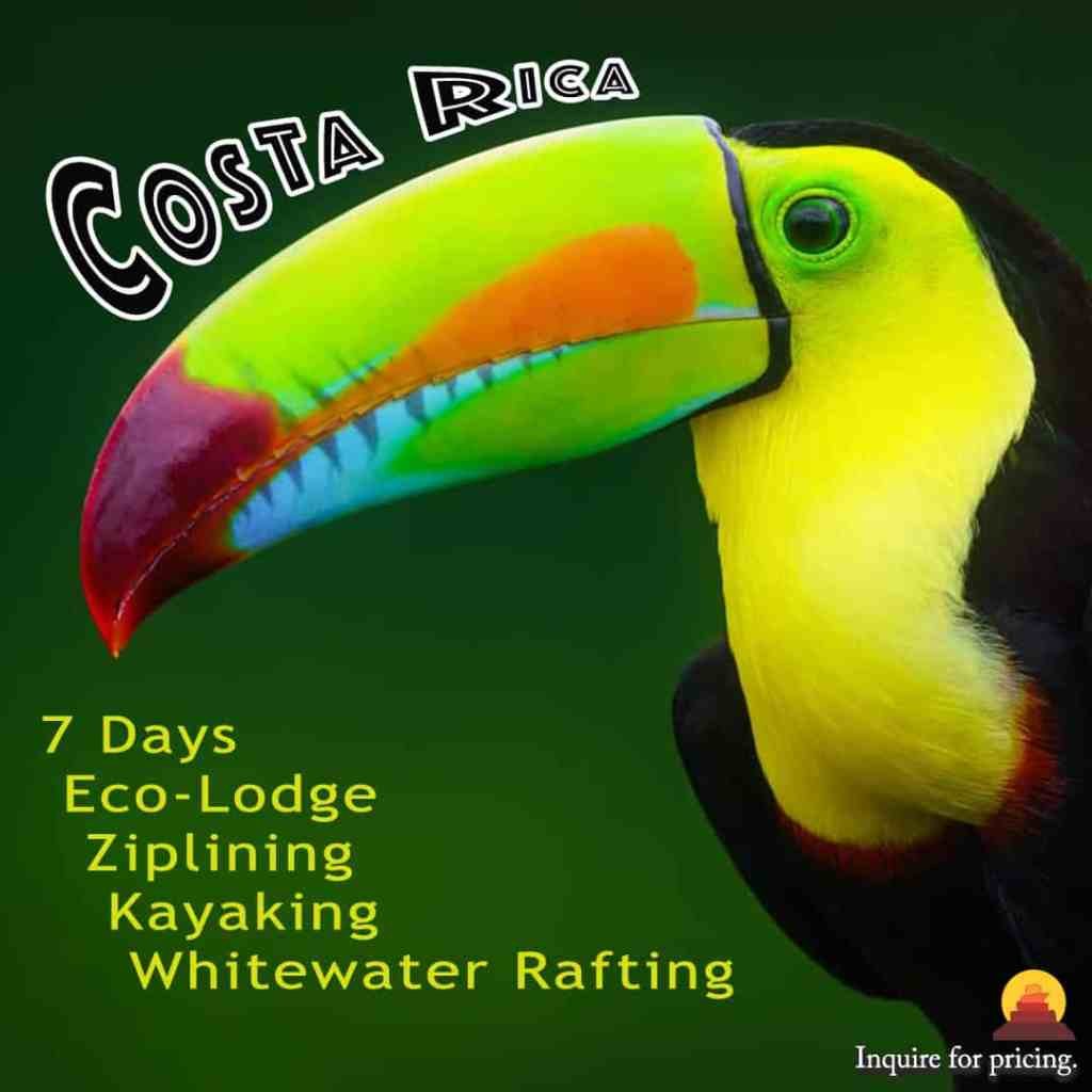 Costa Rica vacation that includes zip lining and rafting.  Vacation to the rainforest of Costa Rica.  Stay in eco-lodges.