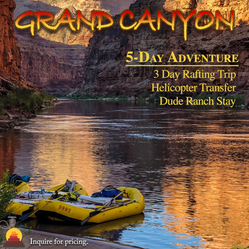 A rafting trip in the Grand Canyon is a vacation many people dream of. This five day adventure includes a helicopter transfer, Dude Ranch and some of the best rafting in the world.