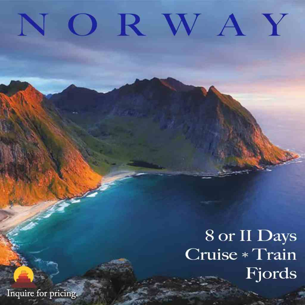 Vacation packages to Norway with gorgeous scenery.  See fjords, glaciers and take a train ride in Norway.  All inclusive vacation packages available.