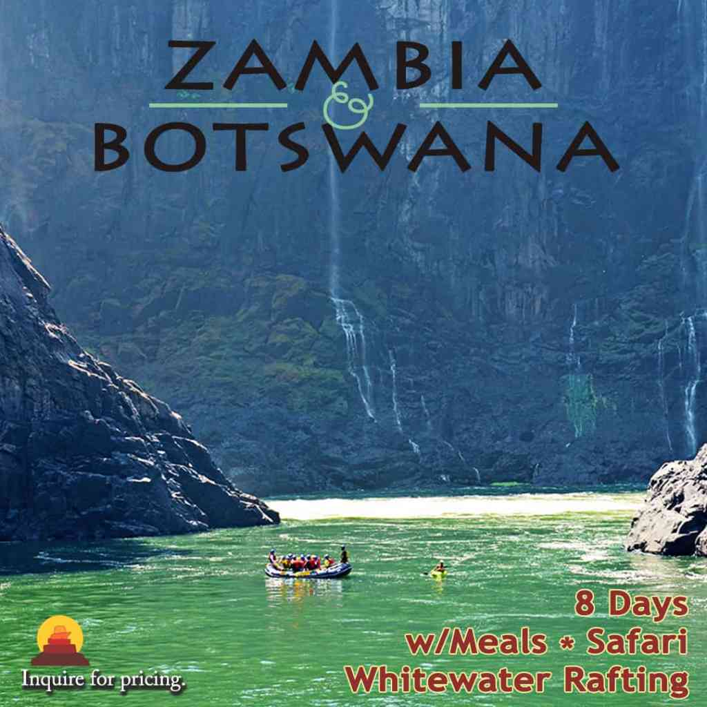All inclusive vacation package with rafting and safari in Zambia and Botswana.