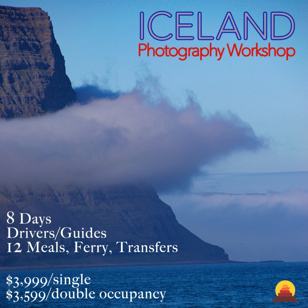 Join a photography workshop in Iceland summer 2021.  Best scenery in the world for photographers.