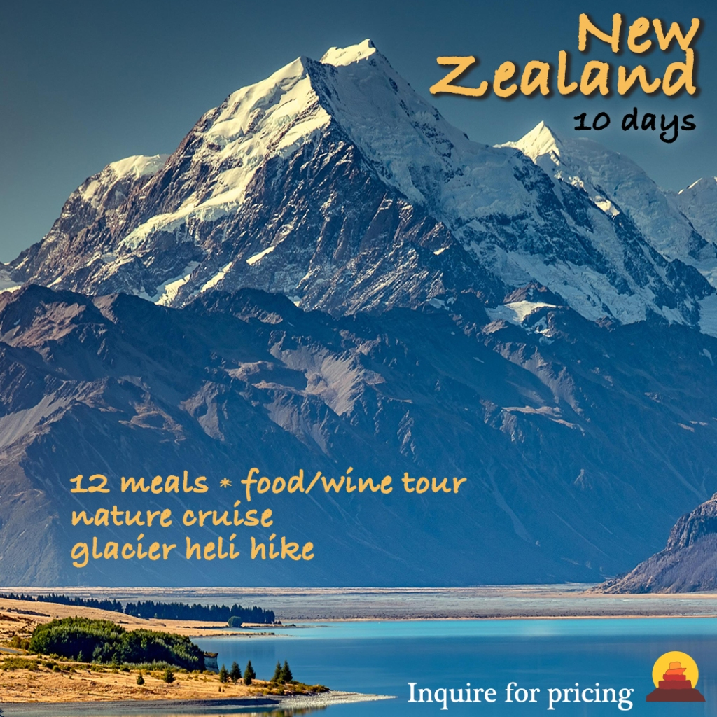 New Zealand adventure vacation with hiking and helicopter adventures, golfing, hot air ballooning, gourmet cuisine and wine trails.