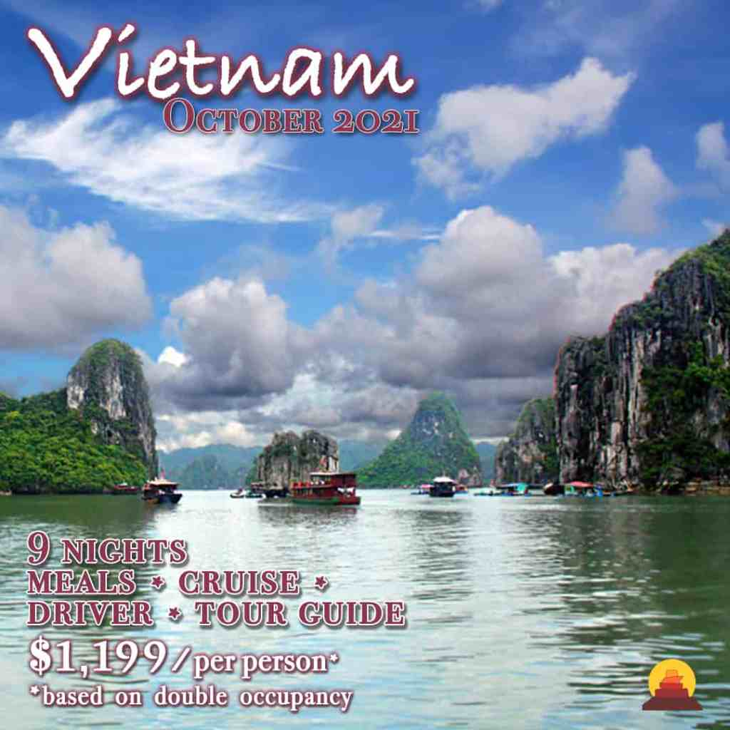 Guided group trip to Vietnam.   Visit Hanoi, bay of Ha Long, Mock's Chau.  All inclusive vacation