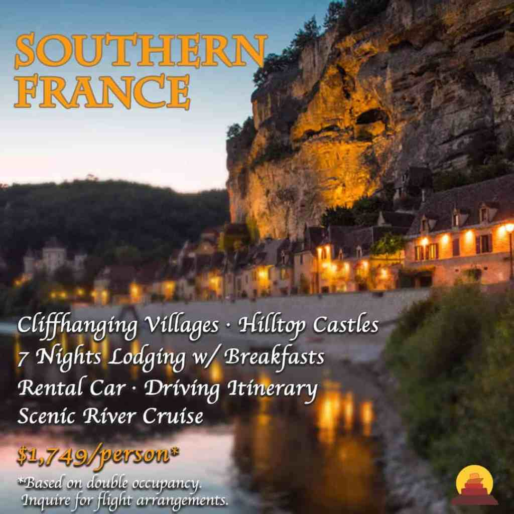 A vacation that includes Well appointed high end luxury hotels.  Trip of a lifetime.  France is a bucketlist destination.  7 night guided vacation to France